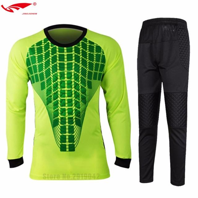 Camisas de futebol Treino Porteiros Goleiros Jersey Set-manga Longa Top  Calças Camisa Roupas Dos 04f1561752a7f