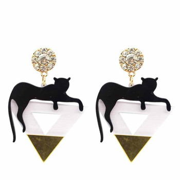 Gold color triangle Cat leopard head earrings