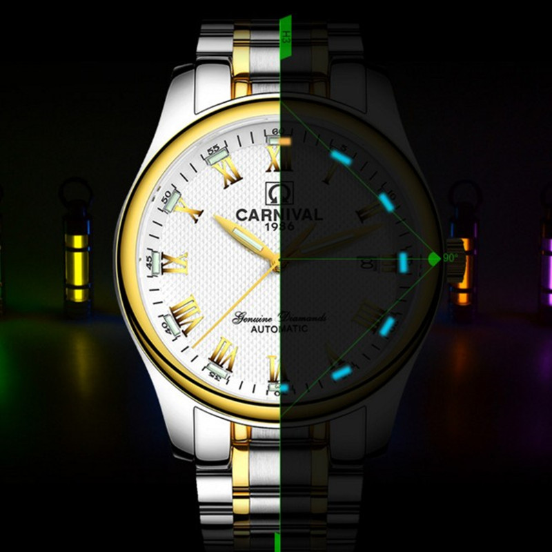цена на Carnival Automatic Mechanical Watches T25 Tritium Luminous Watch Men Sapphire Crystal Stainless Steel Male Clock horloges mannen