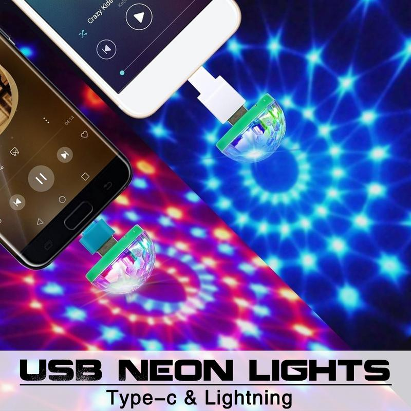 USB Colorful LED Stage Lights Mobile Phone Microphone Flash-explosion Neon Lights Protable Mini LED RGB Music Disco Lamps