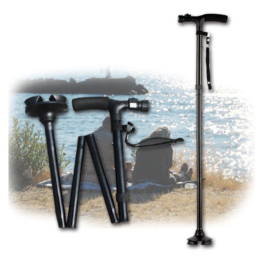 Folding Outlife Walking Stick Cane With LED Light & Carry Strap Portable Adjustable 4-Feet Black Handle Crutch