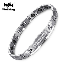 WelMag Hematite Healthy Bracelet & Bangle for Women Zircon Charm Chain Link Hologram Bracelet Promote metabolism Healing Jewelry