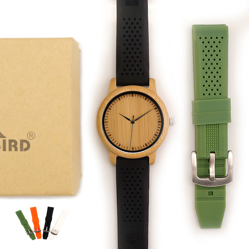 BOBO BIRD Fashion Men Watches Simple Style Bamboo Wooden Wristwatches Soft Silicone Strap Extra Band As Gift Hot Selling