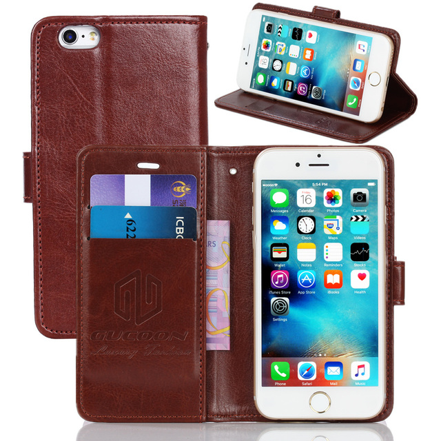 GUCOON Vintage Wallet Case for Philips W3500 5.0inch PU Leather Retro Flip Cover Magnetic Fashion Cases Kickstand Strap