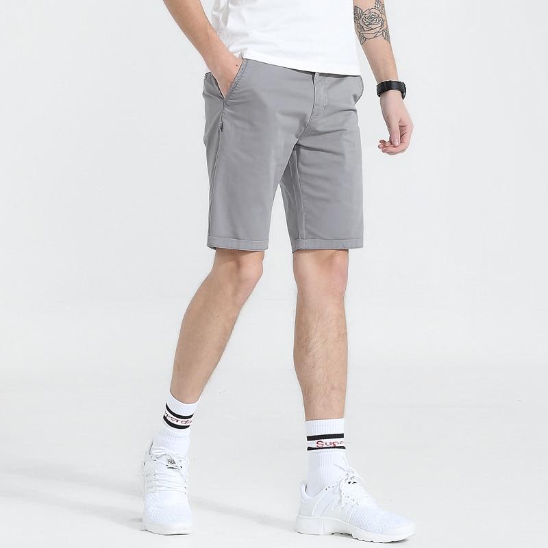 Men Shorts Solid Casual Fashion Busines Shorts Knee-length Mens Cotton Joggers Washed Shorts Short Pants Male Bermuda Masculina