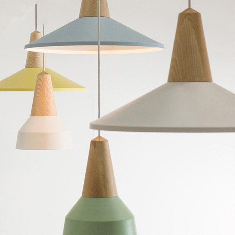 Modern Oak Wood Pendant Light Aluminum Lamp Shade Hanging