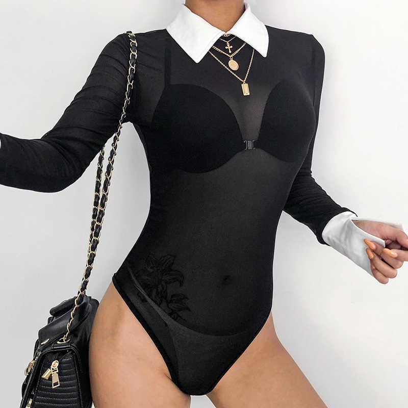 HEYounGIRL Сексуальная черная сетка комбинезон прозрачный длинный рукав женский боди-костюм купальный костюм с шортами вечерние Клубные боди Женский Топ
