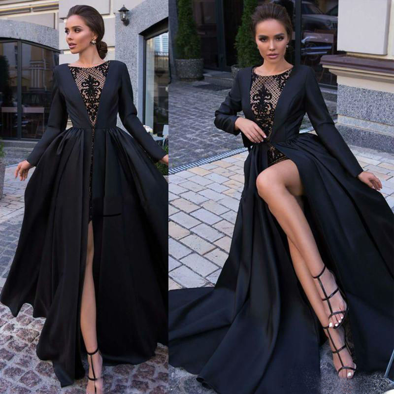 Chic Long Sleeve Prom Dresses 2019 High Split Lace Appliqued Vestidos De Gala Custom Made Special Occasion Dress