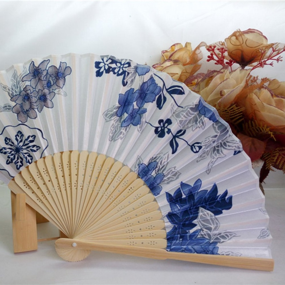 Portable Fan Japanese Chinese New Style Women's Hand Held Folding Fan Beautiful Satin Fan With Bamboo Frame Summer Cool Gift