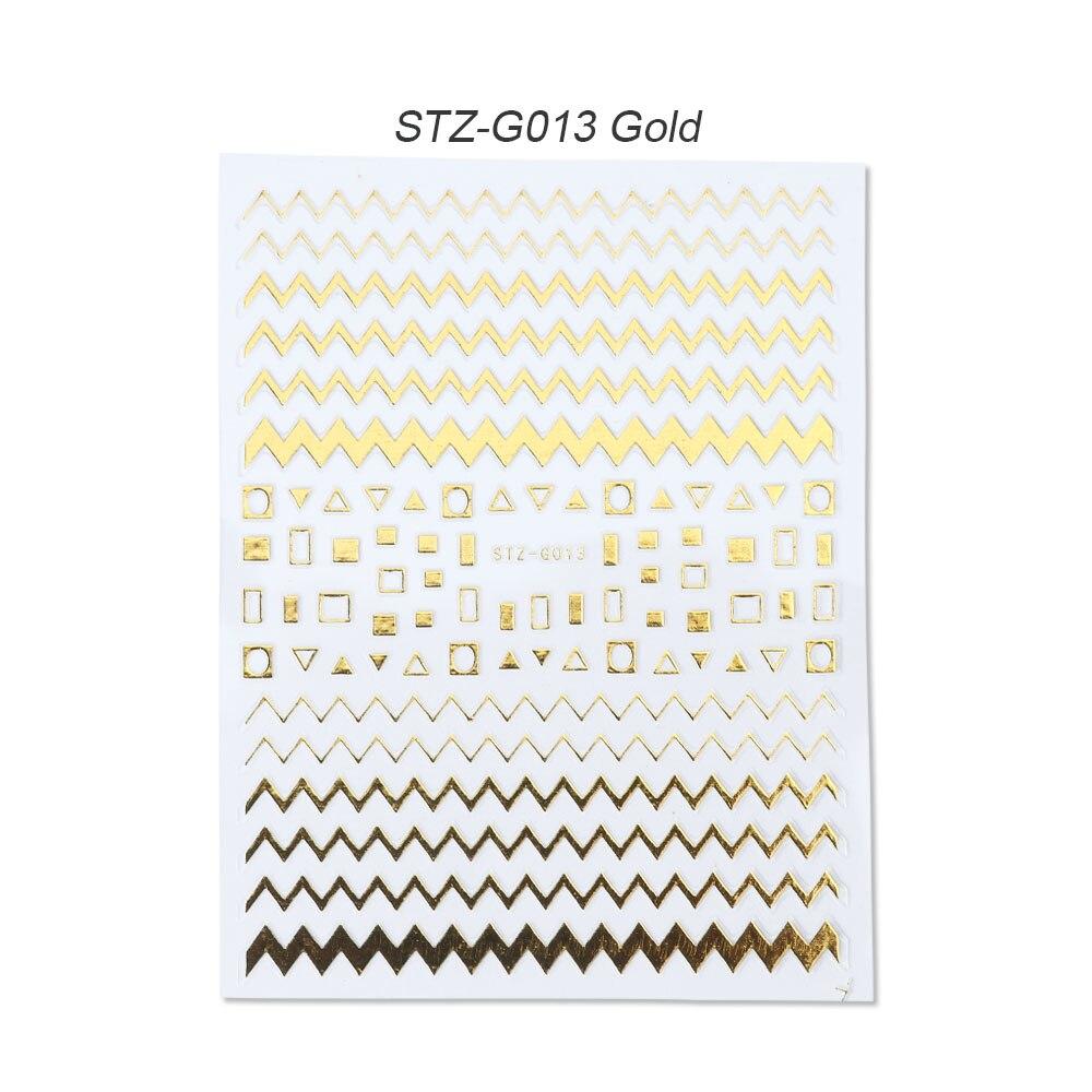 1 шт золотые Серебристые 3D наклейки для ногтей прямые изогнутые вкладыши полосы ленты обертывания геометрический дизайн ногтей украшения BESTZG001-013 - Цвет: STZ-G013 Gold