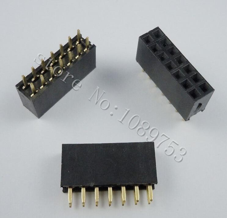 100pcs 2x7 Pin 2.54mm Double Row Female Pin Header 14P PCB Socket Connector pin header female socket 2 0mm spacing 2 40p double base two rows socket