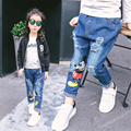 Baby Girl Jeans Kids Fashion Casual Minnie Pants Kids Cartoon Jeans Children Denim Trousers Elasstic Waist Children Clothing