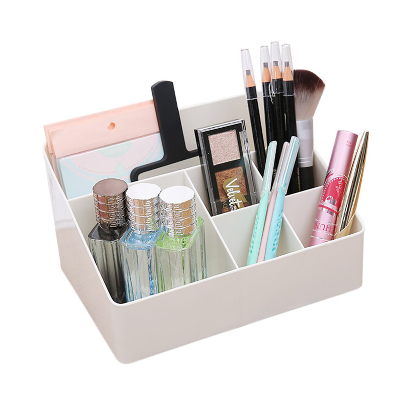 Simple Multi-grids Cosmetics Storage Box Dresser Makeup Tool Storage Box Desktop Plastic Stationery Skin Care Product Organizers