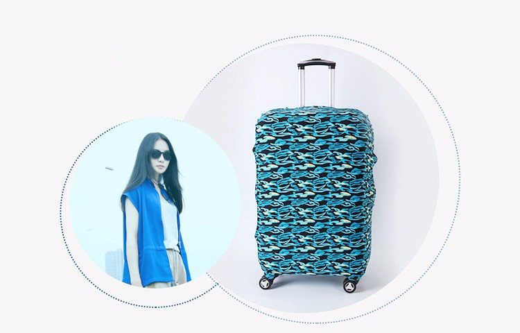 TRIPNUO Thicker Blue City Luggage Cover Travel Suitcase Protective Cover for Trunk Case Apply to 19''-32'' Suitcase Cover 30