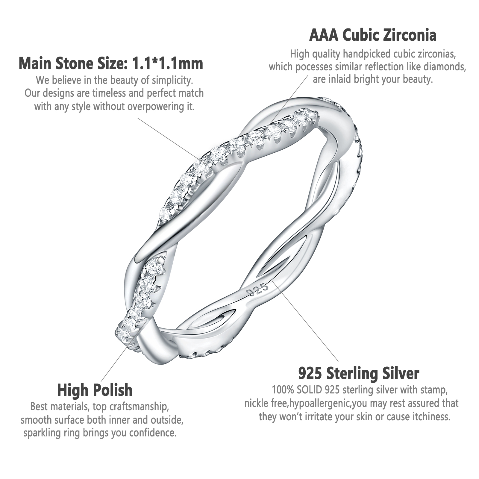 Image 4 - Newshe 925 Sterling Silver Wedding Engagement Ring For Women Twist Rope Wave Design Curve Band Trendy Jewelry CZ Jewelry GiftRings   -