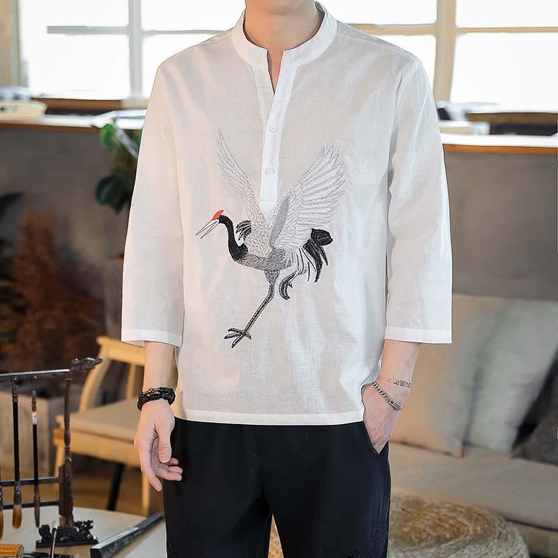 LOLDEAL Men Long Sleeve White Crane Print Shirt Chinese Style Retro Pullover Collar Shirt Print Loose Shirt in Casual Shirts from Men 39 s Clothing