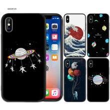 f5804e547c5 Feliz ir ronda planeta alienígena del espacio cielo negra del teléfono de  silicona suave cubierta de la caja para iPhone XS Max .