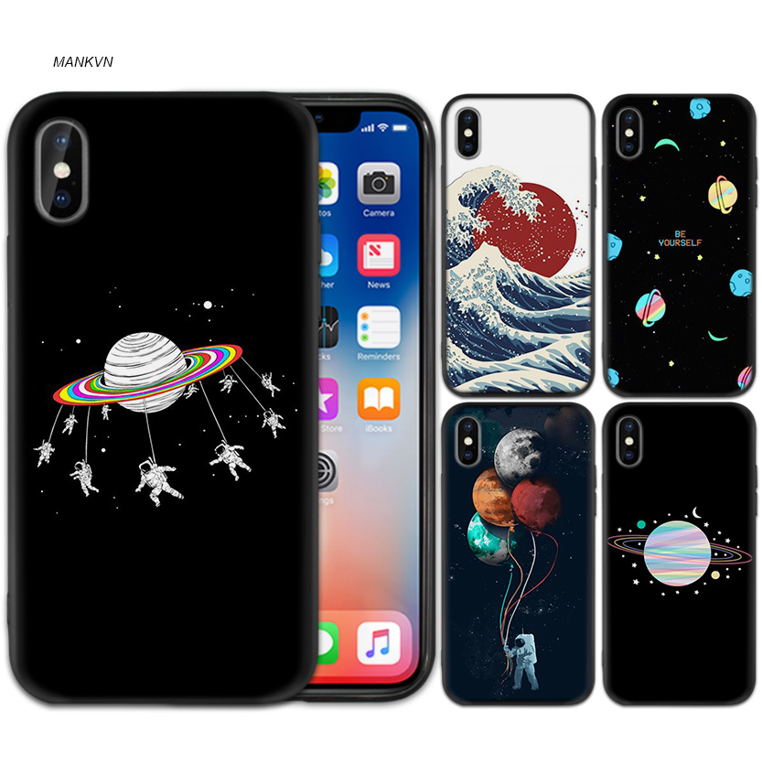 Phone Bags & Cases Half-wrapped Case Babaite Black With White Moon Stars Space Planet Diy Painted Phone Case For Iphone X Xs Max 6 6s 7 7plus 8 8plus 5 5s Se Xr Good Heat Preservation