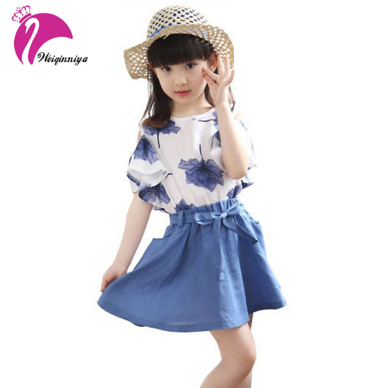 2017 New Brand  Korean Girls Summer Shorts+A-line Skirt 2pcs Children Baby Suit Floral Blouse Brand Kids Clothes For 4-15Y Hot 16cm naruto hatake kakashi joint anime action figure pvc figures toys collection for christmas gift with retail box