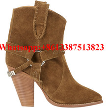 Etoile Rawson Suede Ankle Boots Embroderied Ring Harness Chunky Spikes High Heels Slip-On Women Boots Brand Ladies Shoes Woman
