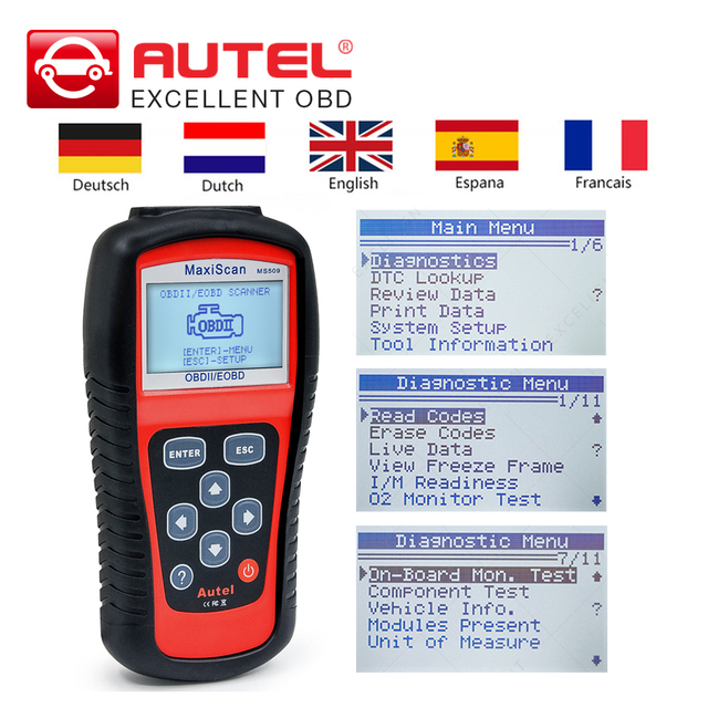 Autel Maxiscan MS509 OBD2 Code Reader Car scanner OBDII MS 509 Automotive Diagnostic Tool Dutch/English/French/German/Spanish