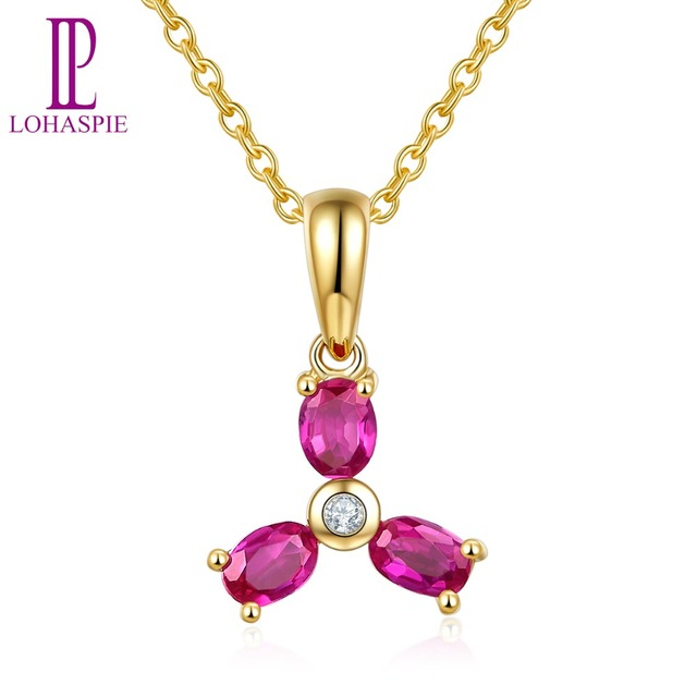 Lohaspie Stone Jewelry 9x13.5mm Pendant Natural Ruby Solid 10K Yellow Gold Gemstone Fine Fashion Jewelry For Birthday Gift New