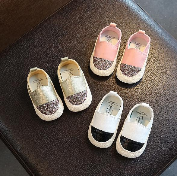 New Fashion Sequin 2018 Spring Baby moccasins genuine leather Baby shoes first walkers hard sole Crib casual Sneakers kids shoes