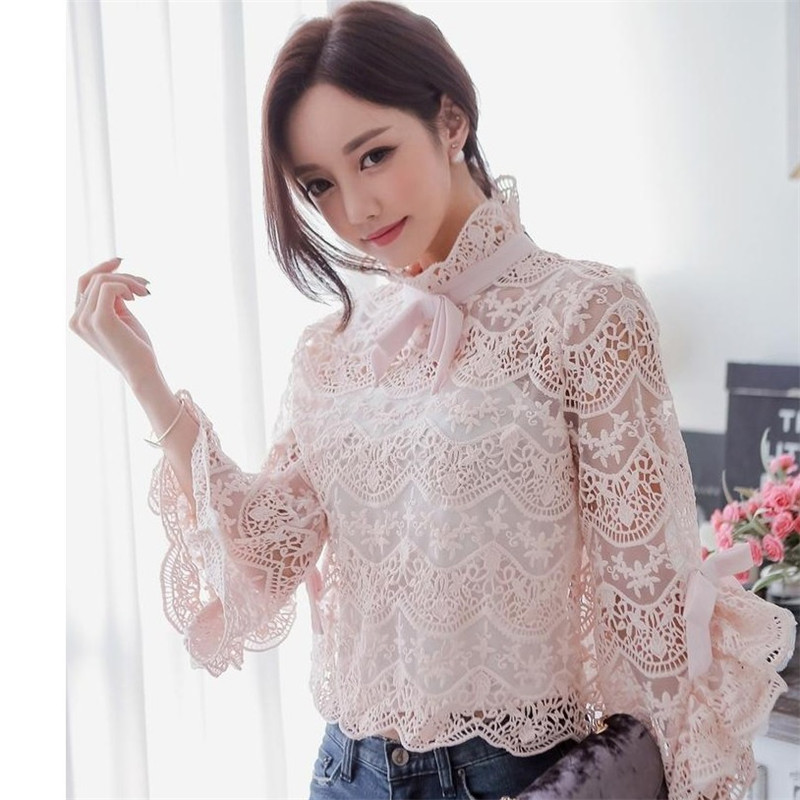 GEJIAN Women's Shirts Summer Fashion Pink Elegant Long Sleeve Slim Trumpet Sleeve Bow Lace Shirt Shirt Women's Tops