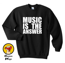 Music Is The Answer Printed Black Shirt New Mens Womens Dance Rave House Top Crewneck Sweatshirt Unisex More Colors XS - 2XL