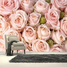 Пользовательские фото текстильные обои, яркие розовые розы, 3D фрески для гостиной спальни кухни фон стены ПВХ обои