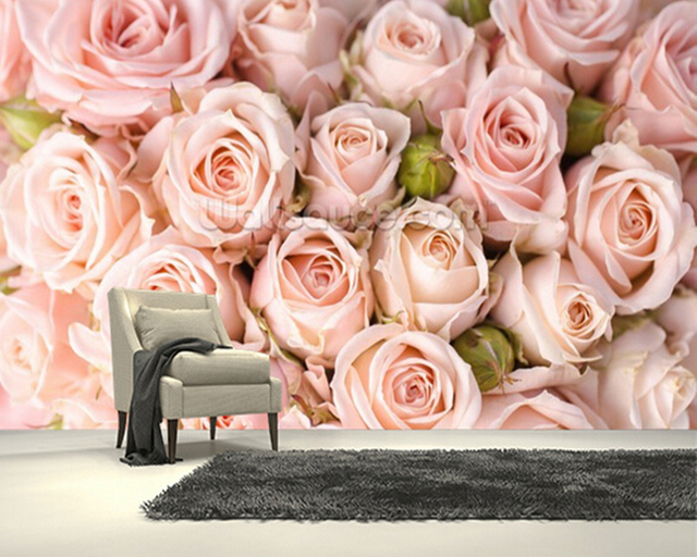 Custom Photo Textile Wallcoverings Bright Pink Roses3D Murals For Living Room Bedroom Kitchen
