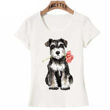 4b28daf8 2018 New summer women t-shirt Cute Rose Mini Schnauzer print T-Shirt casual  ladies Tops hipster maiden short sleeve girl Tees