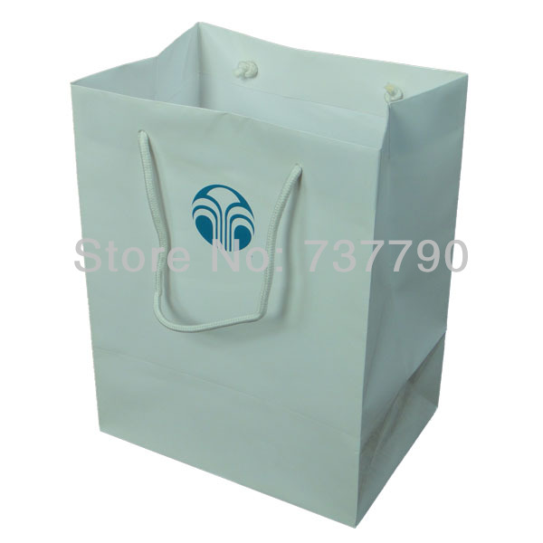 Niestandardowe nadrukowane logo papierowa torba na prezenty/nadający się do recyklingu opakowania biała torba papierowa 25x34x9 cm w Torby na prezenty i przybory do pakowania od Dom i ogród na  Grupa 1