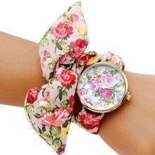 цены Shsby Update Women dress Watch Ladies flower cloth wristwatch high quality fabric gold watch sweet girls Bracelet watch Reloj