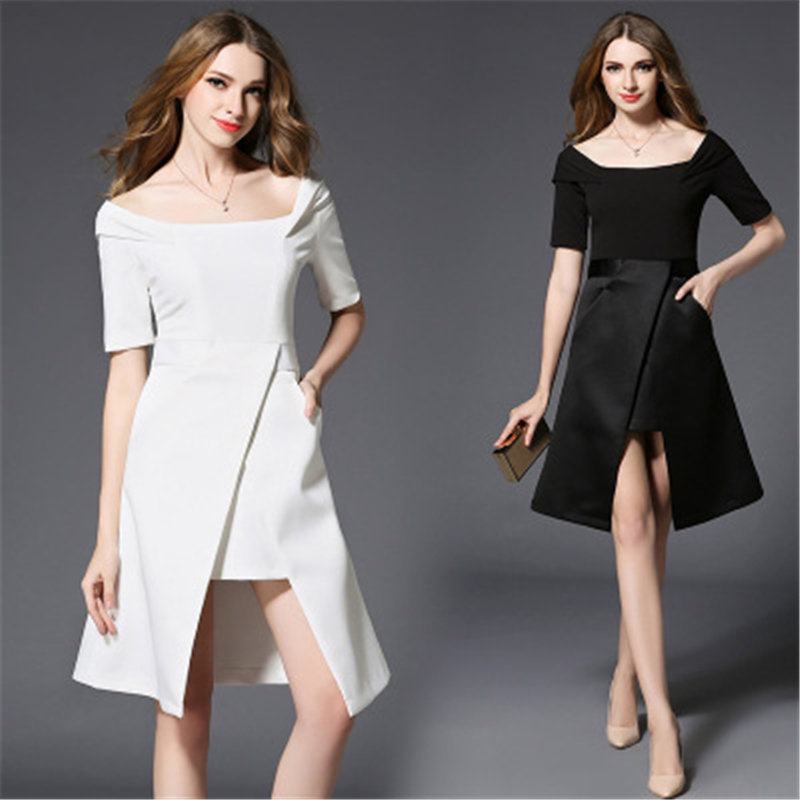 Buy Cheap COSY Women Elegant Summer Dress Sexy Solid Color Slim Office Dresses Fashion Evening Party Ladies Black/White vestido de mujer