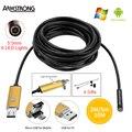 Endoscópio 5.5mm 2EM1 ouro 2 M 5 M 10 M USB Endoscópio Câmera De Inspeção HD OTG Android IP67 USB Endoscopio Câmera Do Telefone Borescope
