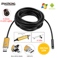 Endoscopio 5.5mm 2EN1 oro 2 M 5 M 10 M USB Android IP67 Cámara de Inspección Endoscopio HD OTG USB Endoscopio Teléfono con Cámara Boroscopio