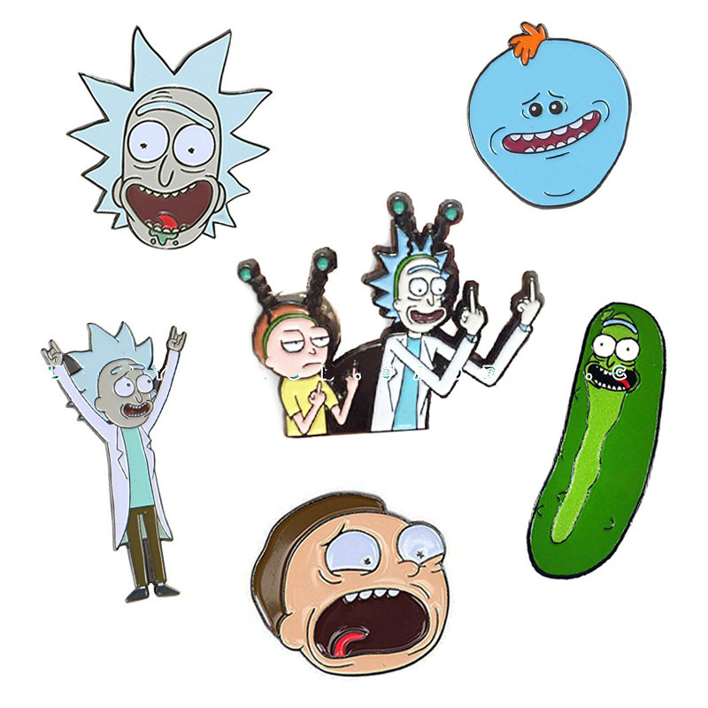 Rick And Morty Enamel Pin Tiny Rick And Moti Pins Acid Pickle Rick Badge Meekseeks Brooch Broche For Neckline Brooches Pins