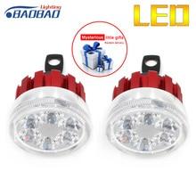 BAOBAO 2pcs/Set Super Bright 6LED RGB Motorcycle Headlights 6000K Lamp Rearview Mirror Beads With Angel Eyes Motorbike