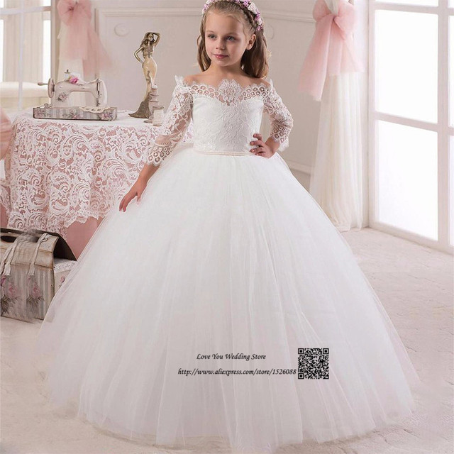 b1a5c53196 Suknia Balowa Z Długim Rękawem Flower Girl Dress 2017 Długie Pageant  Sukienki dla Dzieci Suknie Wieczorowe