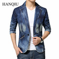 2017 New Arrival Brand Cool Mens Blazer Jacket Trendy Jeans Suits Single Button Casual Men Slim Fit Denim Suit Jackets 4XL