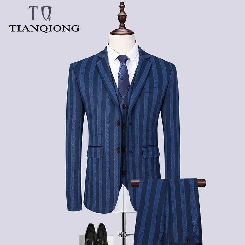 Men Suits 2019 Brand Clothing Stripe Men Formal Suit Blue Normcore Mens Suits Wedding Groom Blazer with Pants Mens 3 Piece Suit