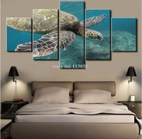 Modern Home Wall Decor Canvas Picture Art 5 Panel Deep Blue Sea Sea Turtle Seascape Printed