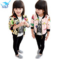 M&F New Fashion Girl Jacket Cute Flower Baby Long Sleeve Kids Autumn Coat&Outerwear Casual Children Clothes Girl Cotton Clothing
