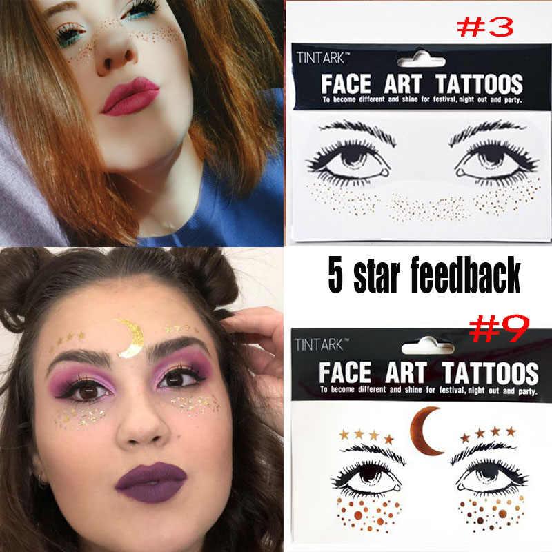 1PC Europe or temporaire visage tatouage autocollants tache étanche cristal taches de rousseur bronzant yeux paillettes maquillage Flash outils
