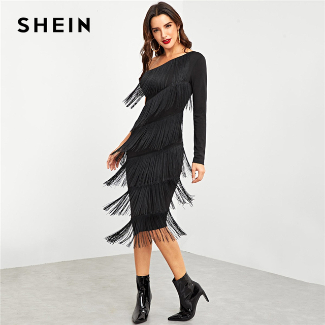 c7095ff7ce1f SHEIN Black Party Going Out One Shoulder Layered Fringe Embellished Dress  2018 Autumn Long Sleeve Fashion