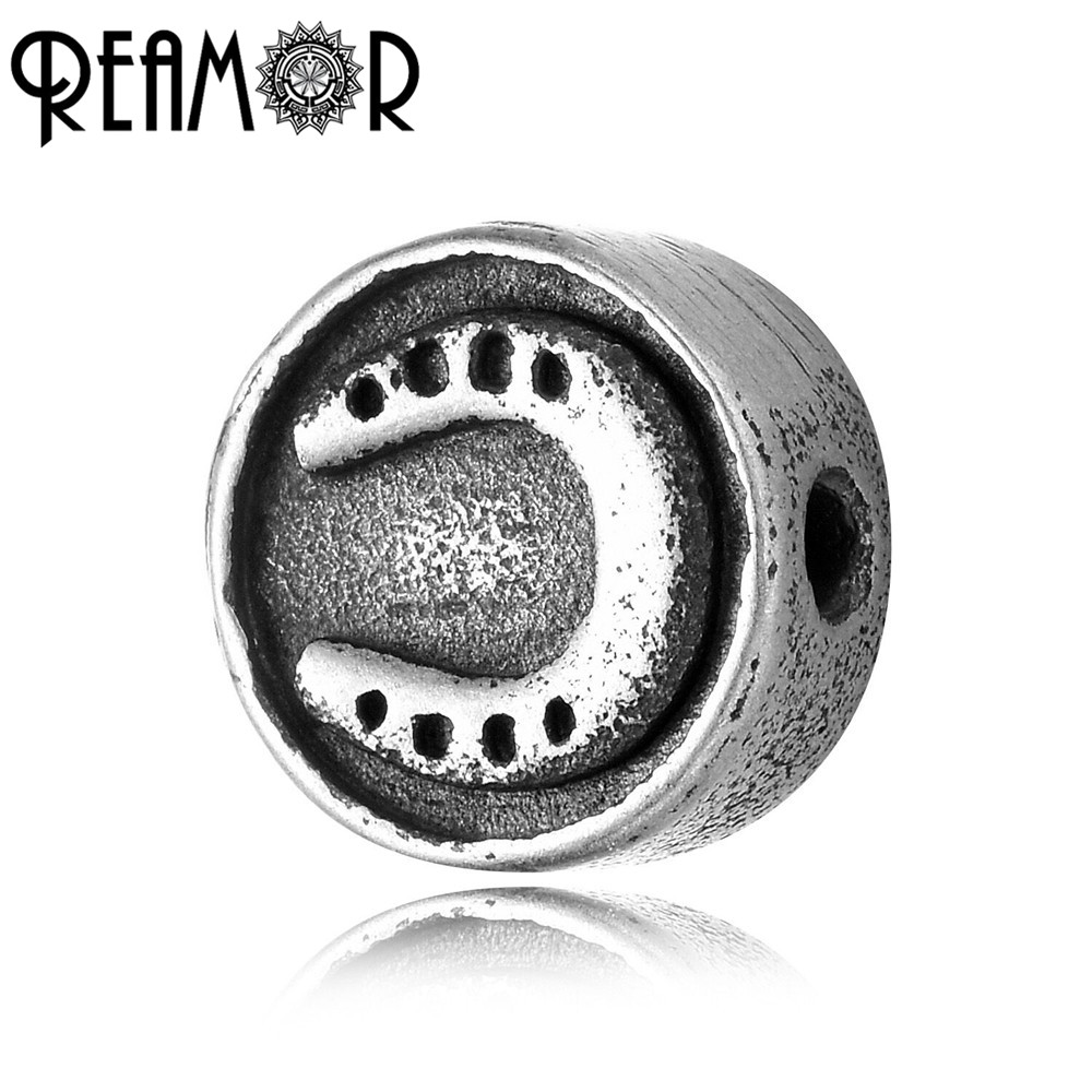 REAMOR 5pcs 316L Stainless Steel Horseshoe Anchor Cross Logo Charms Beads 2mm Small Holes Beads For DIY Bracelet Jewelry Making