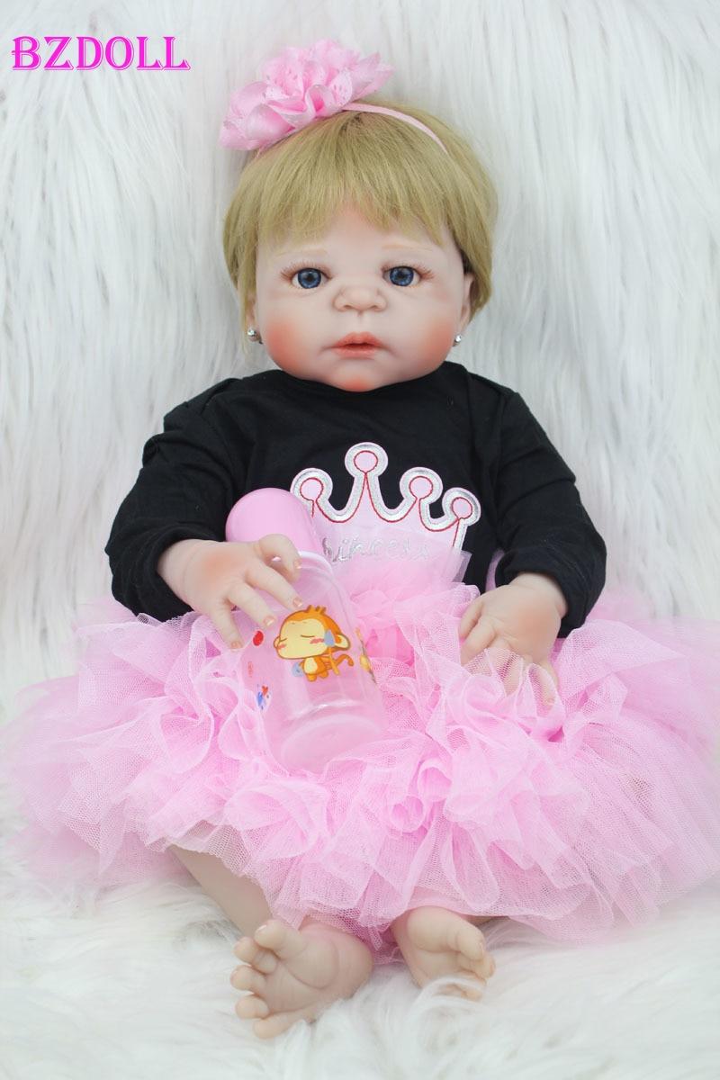 55cm Full Body Silicone Reborn Baby Doll Toy 22inch Newborn Girl Princess Toddler Babies Doll Child