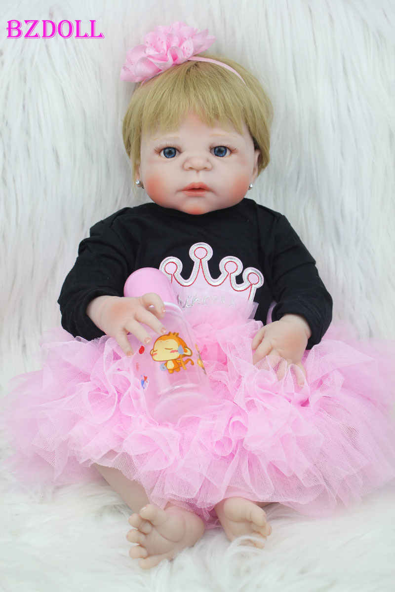 55cm Full Body Silicone Reborn Baby Doll Toy 22inch Newborn Girl Princess Toddler Babies Doll Child Bathe Toy Birthday Xmas Gift-in Dolls from Toys & Hobbies    1