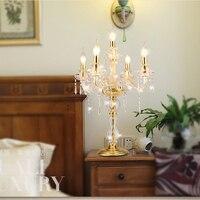 Европейский стиль кристалл лампы романтический прикроватной тумбочке светодиодный светильник Свадьба Золотой Кристалл Настольная лампа
